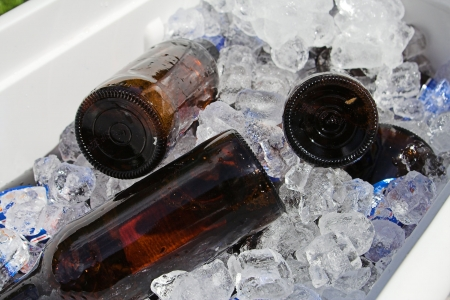 cooler: beer bottles in ice cooler