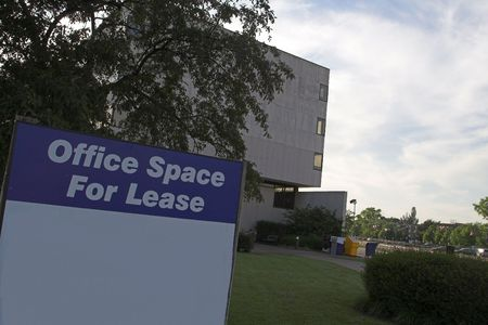 tenant: office space for lease sign Stock Photo