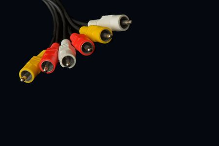 colored audio video connectors on black Stock Photo - 428216