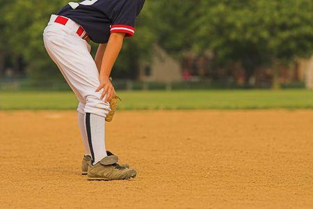 infielder ready to react to next play. photo