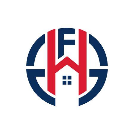 F H Initial letter logo element. home letter logo template. Illusztráció