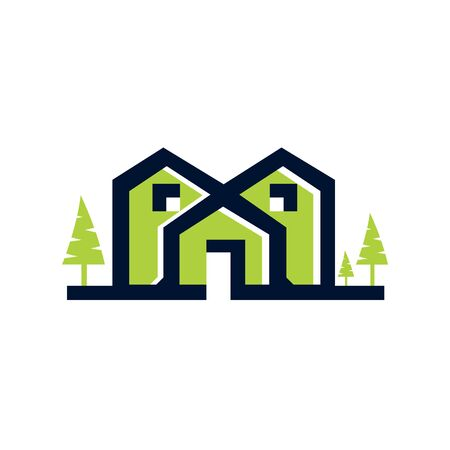 Country house or green home icon for real estate agency or ecology home concept. Vector isolated symbol of farm house in green forest or woodlands park for landscape designing company. Illusztráció