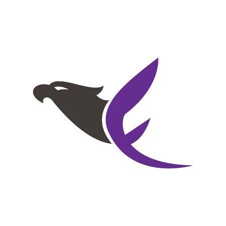 Creative initial letter F with eagle bird logo template vector illustration.