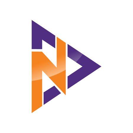 Initial letter ND vector logo design.