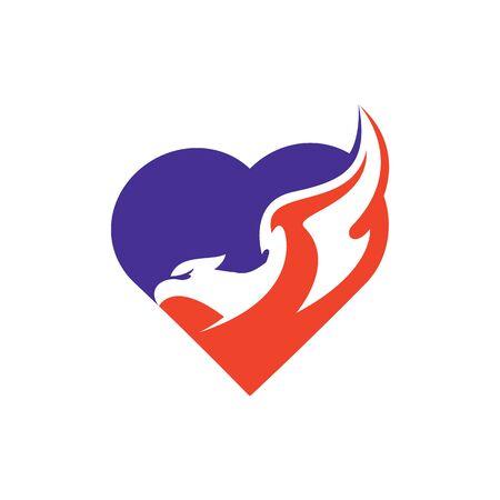 Eagle Love Logo Design. Eagle symbol with love logo. Ilustrace
