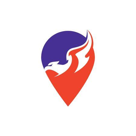 Falcon vector logo with gps pointer design. Star icon logotype. Eagle star logo design template.