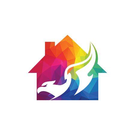 Falcon real estate vector logo design. Universal premium falcon symbol logotype.