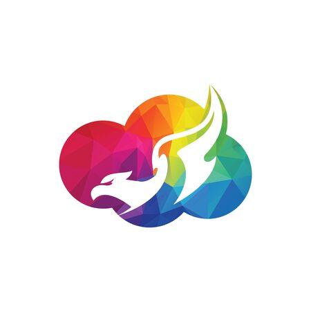 Eagle cloud logo design concept. Bird and travel vector logo design template.