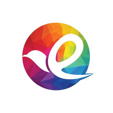 Creative initial letter E with eagle bird logo template vector illustration. Ilustrace