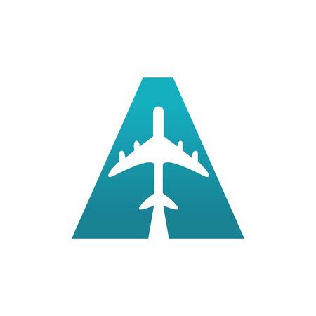 Capital letter A travel vector logo design.