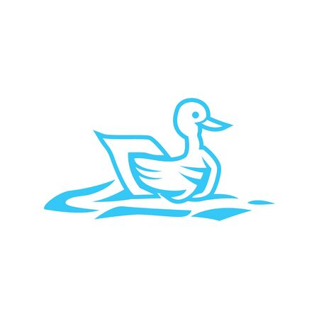 Simple colorful elegant duck logo, abstract duck logo.