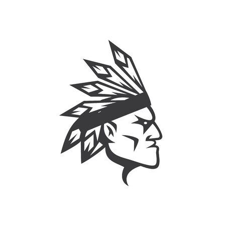 American Apache Indian Logo. Cherokee character icon design. Ethnic logo design. Logo