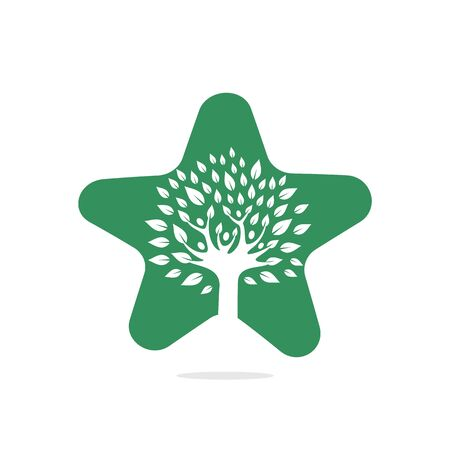 Human life logo icon of abstract people tree vector .Family tree star shape sign and symbol. Foto de archivo - 138187183