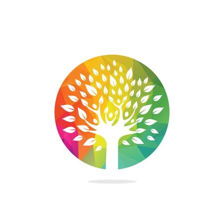 Diseño de vector de logotipo de árbol de logotipo de personas. Persona sana, árbol, eco, y, bio, icono, carácter humano, icono, naturaleza, cuidado, símbolo. Logos