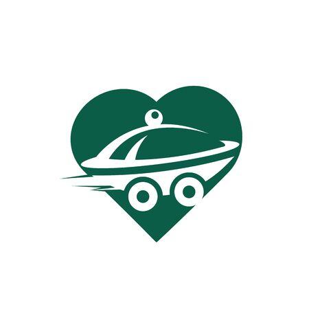 Food love delivery logo design. Fast delivery service sign. Ilustracja