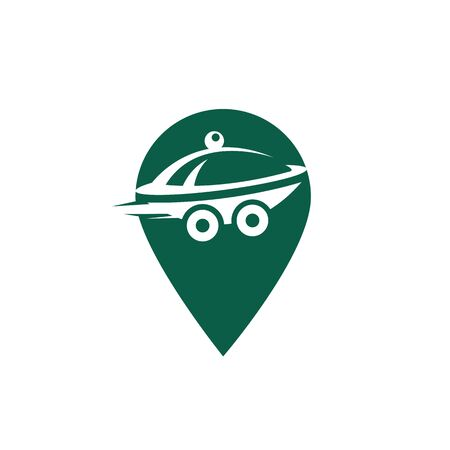 Pin food delivery Map location. Delivery logo concept.
