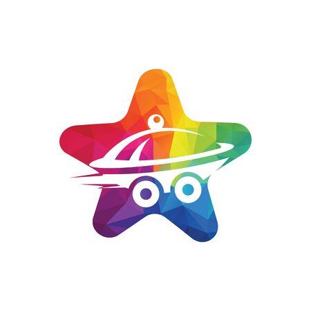 Star Food delivery logo design. Fast delivery service sign.