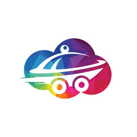 Cloud Food delivery logo design. Fast delivery service sign. Online food delivery service.