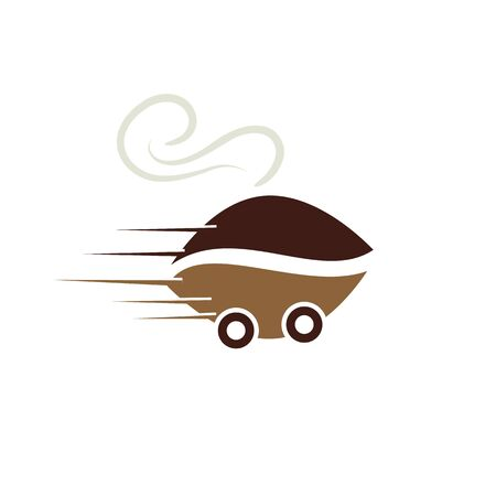 Coffee Fast Delivery Logo Template Design. Food service delivery.