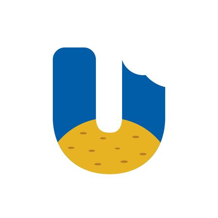 Letter U food logo design.