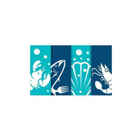 Seafood restaurant vector logo design. Seafood best quality logo. For market, shops and your design vector illustration. Stock Illustratie