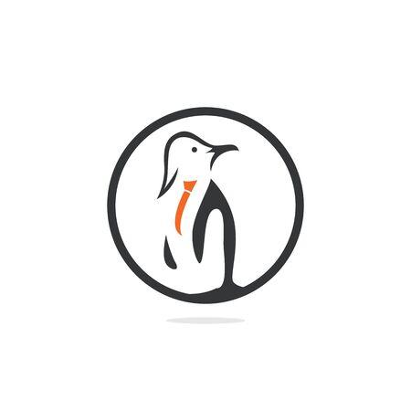 Penguin with tie vector logo design.