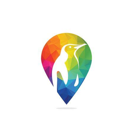 Penguin Zoo Pin Point Location Logo Design. Çizim