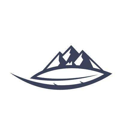 Mountain Leaf Logo Template Vector.
