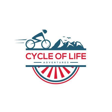 Mountain biker and feather vector logo design.