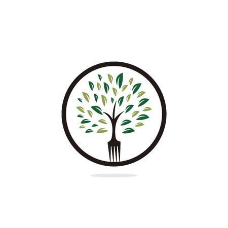 Fork tree logo design for restaurant or cafe. Fresh food logo design concept with tree shape made from fork.