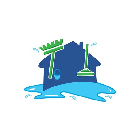 Home apartment cleaning and washing service vector logo design template.