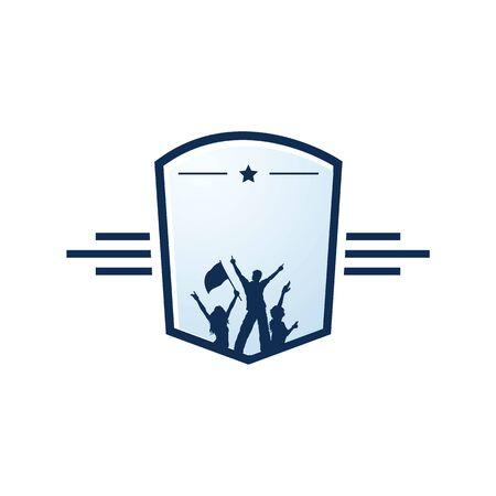 Successful people vector logo design. Sports and and education success logo. Illusztráció