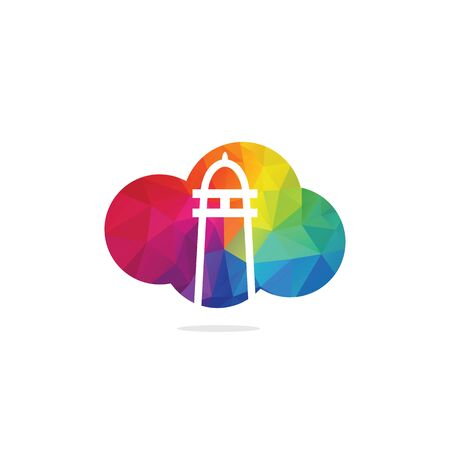 Lighthouse and cloud vector logo design. Lighthouse icon logo design vector template illustration.