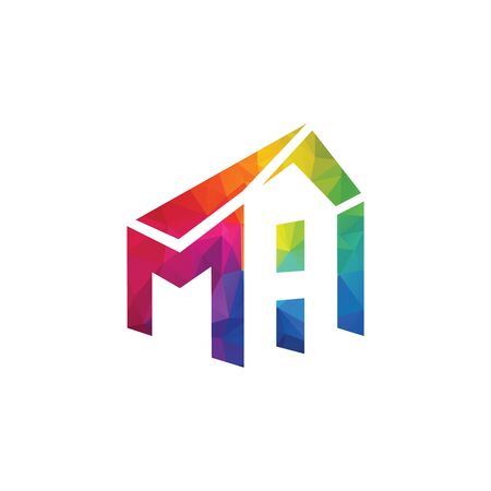 Letter MH House Real Estate Logo. Home initial M H concept. Construction logo template.