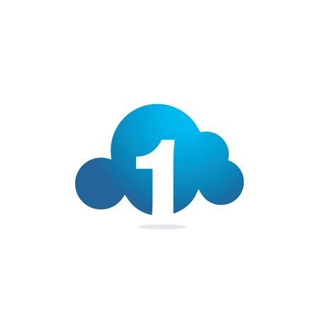 Number One with Cloud vector logo design. Technology Hosting Domain Block Chain Server Logo Design.