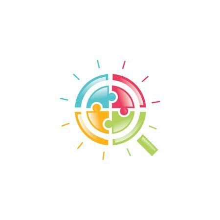 Jigsaw Puzzle Magnifying Icon Logo. Education vector logo design template.