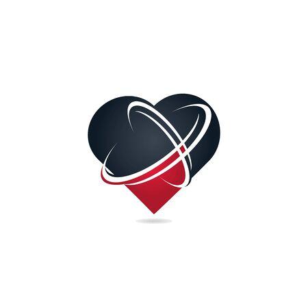 Heart shape networking logo design. Technology logo design template.
