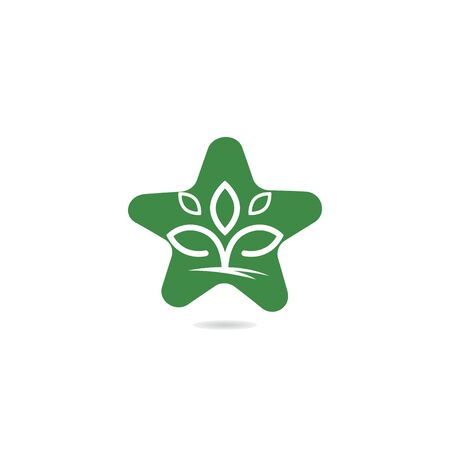 Star Tree logo design. Ecology, environment and agriculture vector icon. Çizim