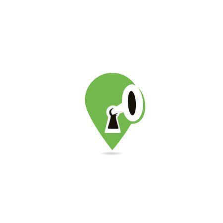 GPS key hole logo design. Geo location pin and keyhole logo.