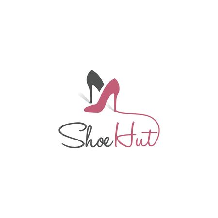 Shoe hut vector logo design. Creative logo design concept for shoe store. Fashion and Feminine logo design template. Illusztráció