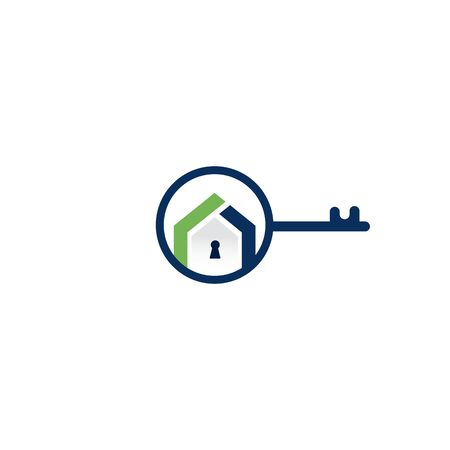 Creative key and home real estate logo design. Logo home security with key shape. Ilustrace