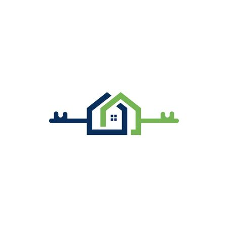 Creative key and home real estate logo design. Logo home security with key shape. Stock Illustratie