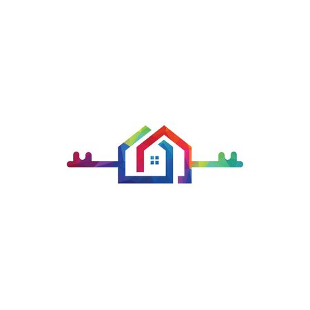Creative key and home real estate logo design. Logo home security with key shape. Çizim
