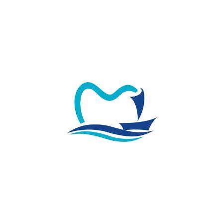 Yacht and teeth icon logo. Dental logo design.