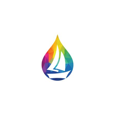 Sailing boat in water drop vector logo.