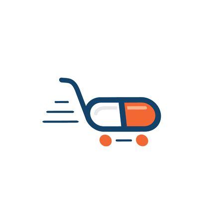 Quick fast medicine capsule pill hospital drugstore delivery logo design. Logo