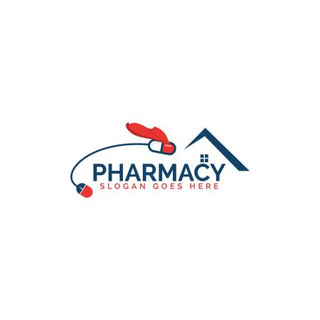 Quick fast medicine capsule pill hospital drugstore delivery logo design. Illustration