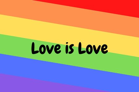 Love is love illustration on colorful rainbow flag or pride flag / banner of LGBTQ (Lesbian, gay, bisexual, transgender & Queer) organization. Pride month parades are celebrated in June