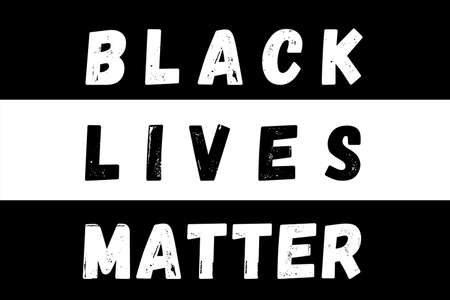 Black Lives Matter Illustration in White and red against a black colored background. There is a huge protest going on in many cities of United States of America (USA)