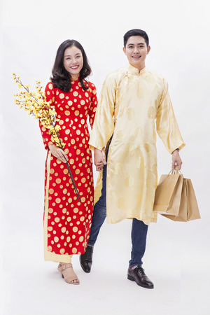 A couple feels happy when Tet Holiday comes